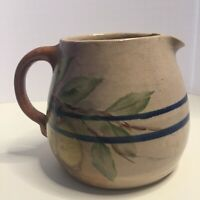 Vintage Hand Made Stoneware Pitcher Glazed Double Cobalt Blue Bands With Fruit