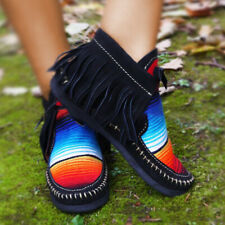 Women Ladies Flat Tassel Magic Tape Ankle Boots Ethnic Moccasin Casual Shoes
