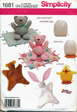 SIMPLICITY SEWING PATTERN 1681 BABY TOYS - TEDDY BEAR, BLANKET ANIMALS, CHICKEN