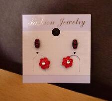 Set 2 paar oorbellen bloem en strass rood bordeaux  NIEUW