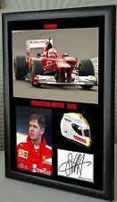 """Seb Vettel F1 Ferrari Framed Canvas Signed Print """"Great Gift"""""""