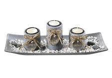 Dekoschale rechteckig mit 3 Kerzenhalter aus Holz grau und Steindekoration