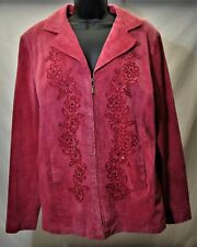 G1424-NOLAN MILLER 100% Suede Leather Women's Jacket Embroidery Bling ~Size XL