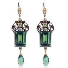Jugendstil Ohrringe mit Kristallen von Swarovski® Grün Gold NOBEL SCHMUCK