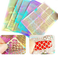 60 Pieces 5 Feuilles Styles Stencil Ongles Nail Art Stickers Set Designs Cut Q2V