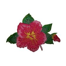 ID 6339 Pink Yellow Hibiscus Flower Embroidered Iron On Applique Patch