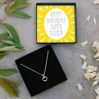 REAL Silver Heart Necklace Sister Jewellery Gift Box Birthday Present Idea Lucky