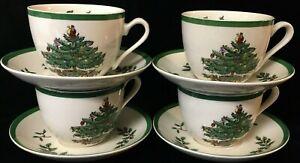 4 Sets Spode Christmas Tree Cup & Saucer - S3324-A11 & A12