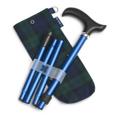 Navy Adjustable Folding Walking Stick & Stylish Blackwatch Tartan Carry Case