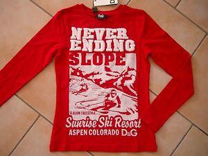 (C504) Dolce & Gabbana Girls Langarm Shirt mit mega Ski & Logo Stickerei gr.104