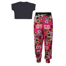Girls Kids Baseball Badged Graffitti Harem Trouser Crop Top Set Age 7-13 Years