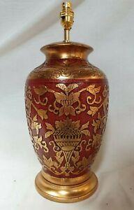 Stunning Red Crackle and Antique Gold Carved Porcelain Lamp base 3368/9902