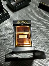 2000 Zippo Lighter - Tortoise Panels On Gold Plate Double Sided- Mint In The Box