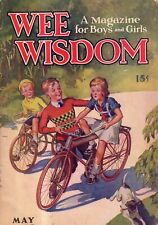 1935 Wee Wisdom May - Riding a bicycle; Fairies; Mothers; Cardinals; Hummingbird