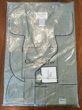 NWT Vintage Christian Dior Pajama Set Top Bottoms Mens Big 1X Gray Houndstooth