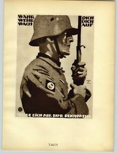 1926 Ludwig Hohlwein Munchen German Soldier Helmet Gun Cannon Biplane Poster