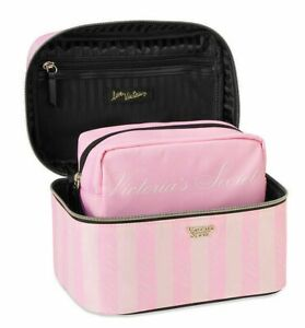 2 PC VICTORIAS SECRET STRIPED VANITY TRAIN CASE COSMETIC MAKEUP TRAVEL BAG