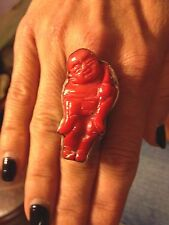 Carved Coral Buddha Sterling Silver Adjustable Ring Signed By Designer!