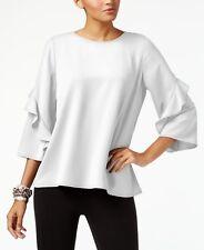 NEW $160 ALFANI WOMEN'S WHITE RUFFLED-SLEEVE ZIP-BACK BLOUSE TOP SIZE M