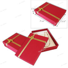 "LOT OF 2 NECKLACE DISPLAY JEWELRY GIFT BOX LARGE RED NECKLACE BOX GIFT BOX 1.5""H"