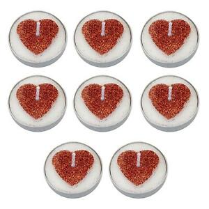 8 Pack Tea Light Candles with Red Glitter Heart Valentines Anniversary Wedding
