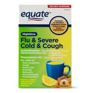 EQUATE Nighttime Flu & Severe Cold & Cough Packets - 650 mg, 6 in Pack+