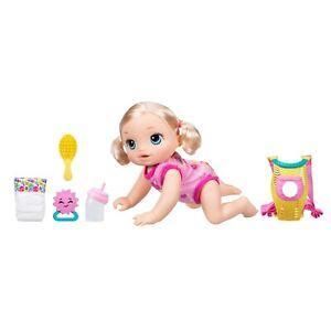 B6048 Hasbro Baby Alive BABY GO BYE BYE BLONDE DOLL CRAWLS TALKS NEW IN BOX