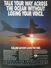 3/1989 PUB ROCKWELL COLLINS AVIONICS SATELLITE COMMUNICATIONS SATCOM AIRLINER AD