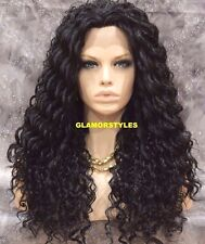 "30"" Long Spiral Curls Jet Black Full Lace Front Wig Heat Ok Hair Piece #1 NWT"