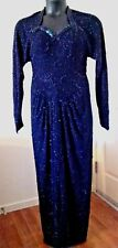 Vintage Evening Gown Womens Hollywood Studio 1940's Beaded Midnight Blue Medium