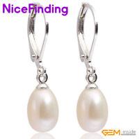 7-8mm Oval Natural Freshwater Pearl Leverback Drop Dangle Earrings Women Jewelry