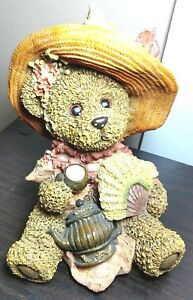 "9.77Teddy Bear Sculpture Victorian Resin Tea Time Collectible 7""H  Hat & Teapot"