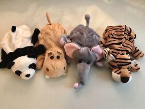Set of 4 Dream Plush Animal Hand Puppets Panda Hippo Tiger Elephant