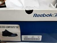* DEFECTS* Reebok ESD Comp Toe Black Shoes, Size 9.5 Wide MENS