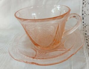 Vintage Hazel Atlas Pink Royal Lace Cup and Saucer
