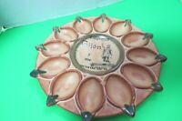 Vtg Ceramic Deviled Egg Holder Made In Spain Estuveen Gijon y me acorde de ti