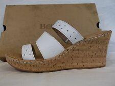 2891e6886de9f4 Born Women White Leather Triple Strap Wedge Sandal Slides Size 11m 43