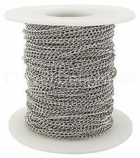 Curb Chain Spool - 100 Feet - Antique Silver (Platinum) - 2x3mm Link - Bulk Roll