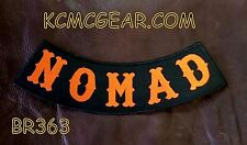 NOMAD	Orange on Black Back Patch Bottom Rocker for Biker Veteran Vest Jacket 10""