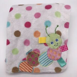 "Taggies Caterpillar Baby Blanket Polka Dot Aqua Green Pink Brown 30x40"" Lovey G1"