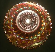"Antique Carnival Glass Dugan Fishscale & Beads 7"" Plate in Marigold Iridescence"