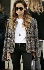 CHANEL 2016 PARIS ROME RUNWAY SIZE 40 BROWN GOLD BLACK TWEED FOUR POCKET JACKET