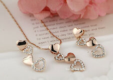 18K Rose Gold GP Austrian Crystal Heart Heart Chain Necklace Earrings Set AC365