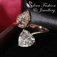 18K Rose Gold Plated Simulated Diamond Leaf Heart Open Adjustable Ring