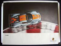 PORSCHE 918 RSR SPYDER HYBRID CONCEPT RACECAR PLAN VIEW SHOWROOM POSTER 2011