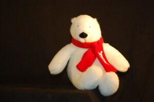 "Coca Cola Polar Bear White Red Scarf Advertising Plush 6"" Toy Lovey 2007"