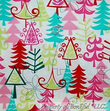 BonEful Fabric FQ Cotton Quilt White Red Green Pink Winter Xmas Tree Aqua Blue S