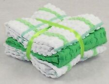 White and Bright Green Tea Towels 100% Cotton Kitchen Checked Terry Pack of 6