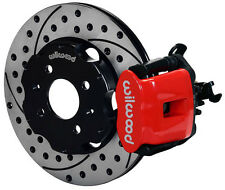 "WILWOOD DISC BRAKE KIT,REAR,HONDA CIVIC,10210,11"" DRILLED ROTORS,RED CALIPERS"