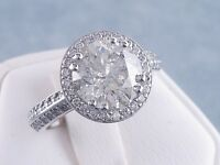 3.34 CARATS CT TW ROUND CUT DIAMOND ENGAGEMENT RING H-I SI3